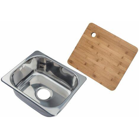 Petit évier de cuisine carré encastrable - evier à un seul bac dans acier brilliant + Planche à découper en bambou (A11 mr + cb)