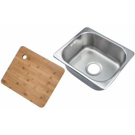 Petit évier de cuisine carré encastrable. Evier à un seul bac dans acier brossé + Planche à découper en bambou (A11 bs + cb)