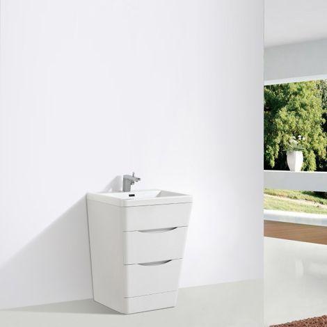 Petit meuble de salle de bain, ensemble Victoria 650D basic en blanc lys