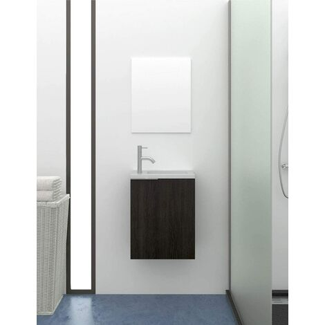 Petit meuble de salle de bain moderne KOMPACT avec miroir et lavabo en resine a charge minerale 60X40X22CM
