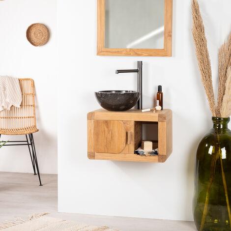 Petit Meuble de salle de bain suspendu 50 cm en teck massif rétro