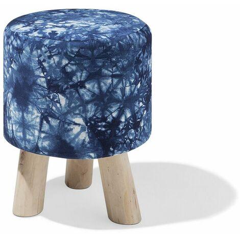 Petit tabouret au motif psychédélique bleu