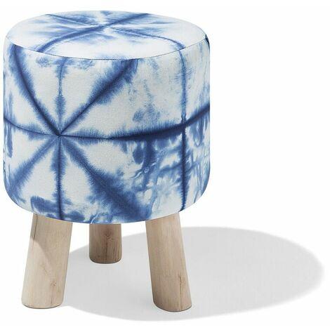 Petit tabouret au motif psychédélique bleu et blanc