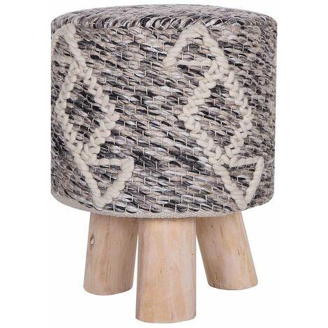 Petit tabouret en bois et en laine beige