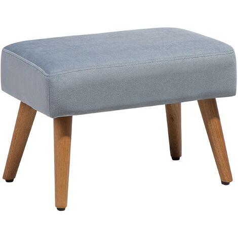 Petit tabouret en velour gris avec pieds en bois