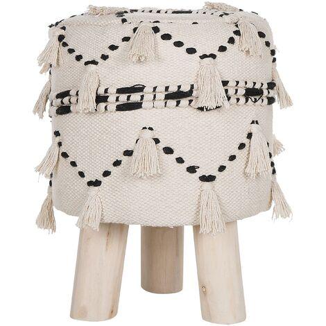 Petit tabouret style bohème en tissu coton beige