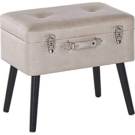 Petit tabouret valise en simili cuir beige