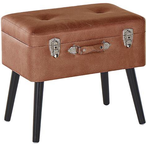Petit tabouret valise en simili cuir marron