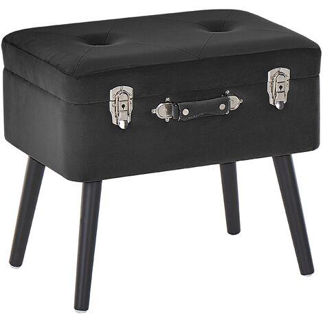 Petit tabouret valise en simili cuir noir