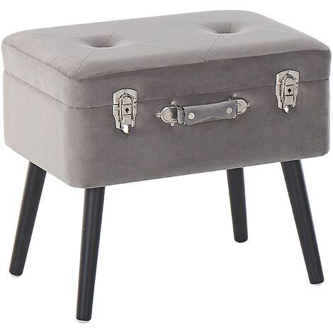 Petit tabouret valise en velours gris