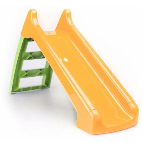 Petit toboggan avec connexion à eau orange et vert 120 cm – toboggan premier âge Léo