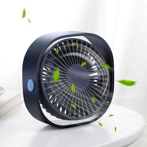 Petit ventilateur de bureau USB personnel, ventilateur de table de bureau portable 3 vitesses alimenté par USB, vent fort, fonctionnement silencieux, pour les voyages en plein air de voiture de bureau à domicile (bleu marine)