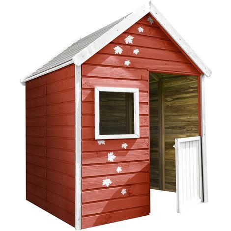 Petite cabane en bois avec portillon 3 enfants - Maria