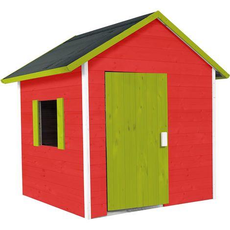 Petite cabane en bois pour 3 enfants toit en feutre - Lilas