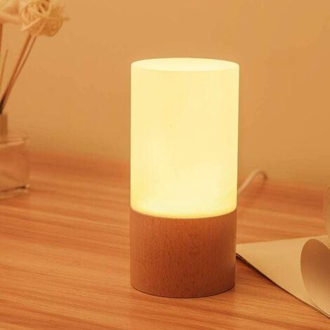 Petite lampe de table en bois LED, nuit de chevet de chambre