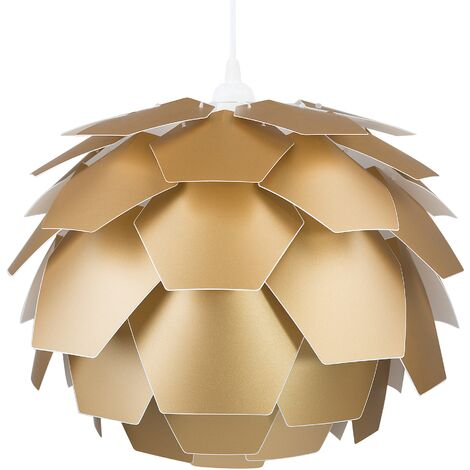 Petite lampe suspension extravagante dorée