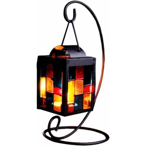 Petite lanterne décorative de table pour bougie chauffe-plat avec support, fer en verre multicolore Belle petite bougie chauffe-plat en mosaïque pour décoration de table, décoration de bureau, 3,9 x 9,1 pouces (DxH)