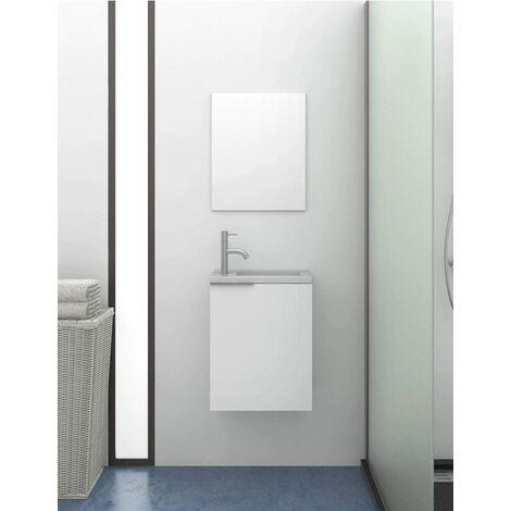 Petite meuble de salle de bains moderne Kompact avec lavabo en résine SOLID SURFACE avec charge minérale 60X40X22CM Blanc