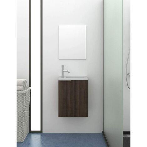 Petite meuble de salle de bains moderne Kompact avec lavabo en résine SOLID SURFACE avec charge minérale 60X40X22CM Frêne tea