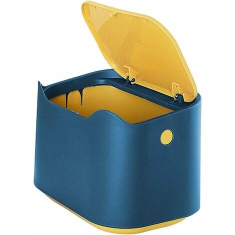 Petite Poubelle de Table, Mini Poubelle de Bureau Cuisine en Stylé Plastique avec Couvercle à Bouton Poussoir, Push Top Poubelle Cuisine Trash Can Rubbish Waste Dustbin Desk Bin 2L (Bleu)