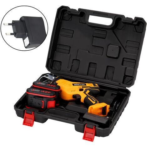 Petite scie alternative rechargeable haute puissance Scie sabre electrique portable d'exterieur (deux batteries et une charge: unite principale + 2 batteries + cordon d'alimentation + 4 lames) EU 220V