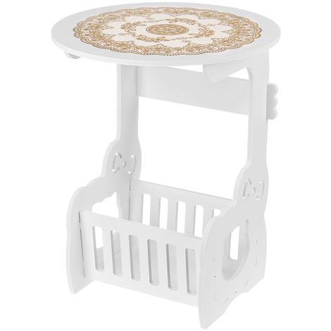 Petite table d'appoint ronde à côté du support de rangement de bureau de thé de café