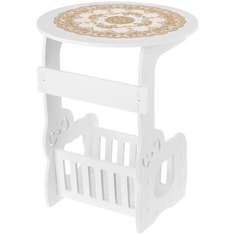 Petite table d'appoint ronde ¨¤ c?t¨¦ du support de rangement de bureau de th¨¦ de caf¨¦