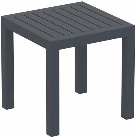 Petite table de jardin en plastique gris foncé résistante aux intempéries 45x45x45 cm - gris