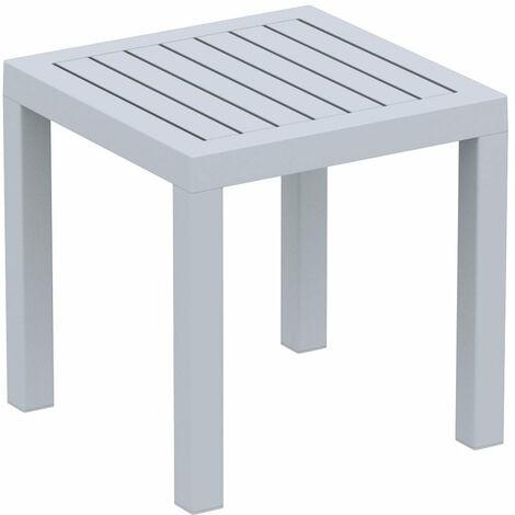 Petite table de jardin en plastique gris résistante aux intempéries 45x45x45 cm - gris