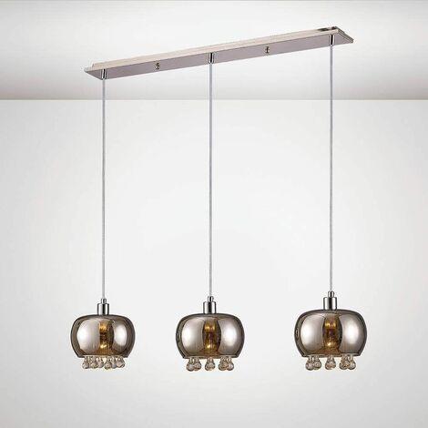 Petora Pendant Light 3 Bulbs E14 Linear Mirror glass / polished chrome / transparent glass