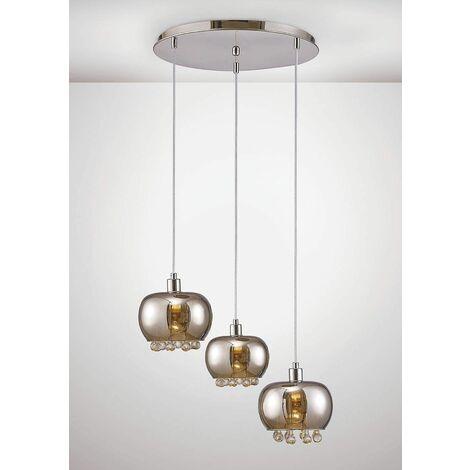 Petora Pendant Light 3 Bulbs E14 round Mirror glass / polished chrome / transparent glass