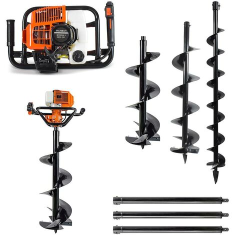Petrol Earth Auger Drill 71cc 3Kw Garden Post Hole Digger Borer with 100/200/300mm Auger Drill Bit + 3 extension