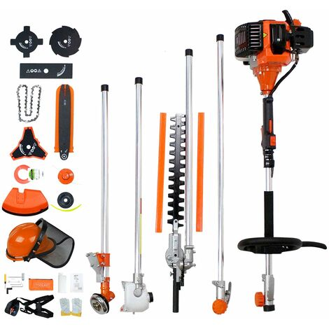 Petrol Multi Tool, Multifunction Garden Tool, Orange, 10 in 1, Engine displacement: 52 cm³