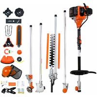 Petrol Multi Tool, Multifunction Garden Tool, Orange, 10 in 1, Engine displacement: 52 cm³