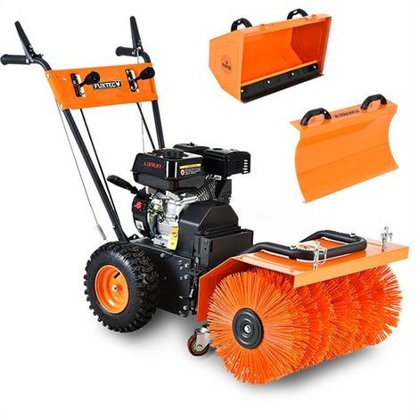 Petrol sweeper/snow plough-SET incl. snow plough blade & dust collector FUXTEC KM196-SET3