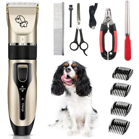 Pets Dog Cat Electric Clipper Dog Grooming Kit Dog Trimmer for Small Dogs Cats USB Rechargeable Low Noise Powerful Motor