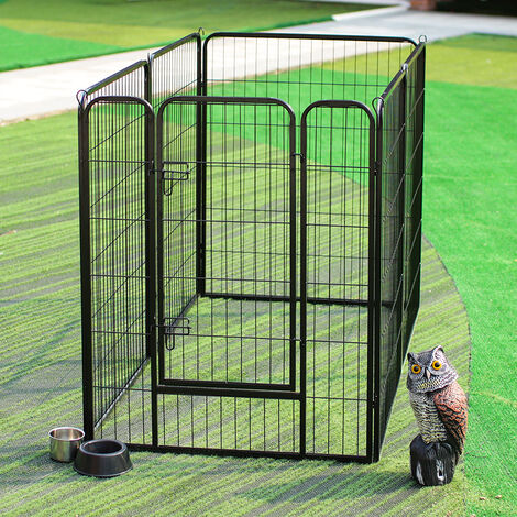 Pets Dogs Cats Heavy Duty Foldable Iron Pen Pet Outdoor 6 Panels Playpen Barrier