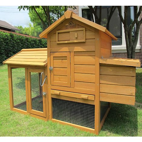 Pets Imperial® Clarence Chicken Coop Hen Ark House Poultry Run Nest Box Rabbit Hutch Suitable For Up To 2 Birds - Integrated Run & Cleaning Tray & Innovative Locking Mechanism