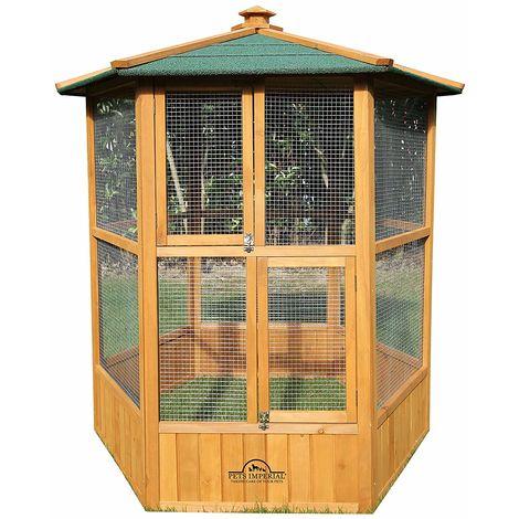 Pets Imperial® Stunning Wooden Bird Aviary Hexgonal Design