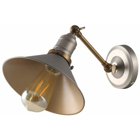 Pewter & Bronze Metal Adjustable Wall Light