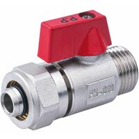 "PEX-AL-PEX 16mm x 1/2"" Male BSP Ball Valve Brass Compression Pipe Fittings"