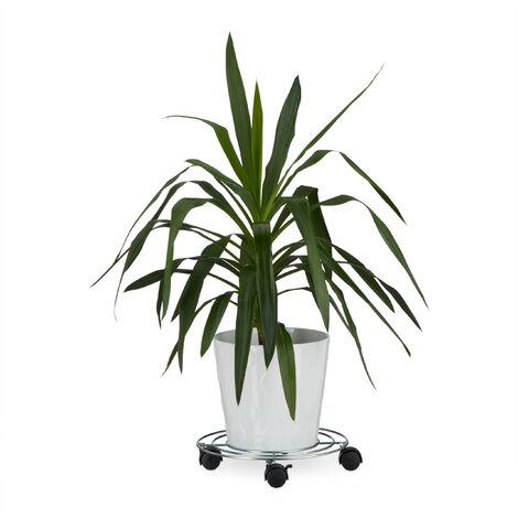 Pflanzenroller, Mit Bremse, Blumenroller, Rund, HBT: ca. 6 x 32 x 32 cm, silber
