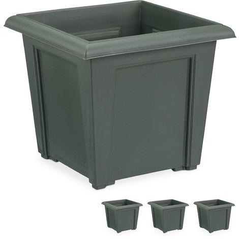 Häufig Pflanzkübel, 4er Set, quadratisch, außen u. innen, Kunststoff SS95