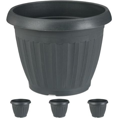Super Pflanzkübel, 4er Set, rund, Blumenkübel, außen, innen, Kunststoff WV84