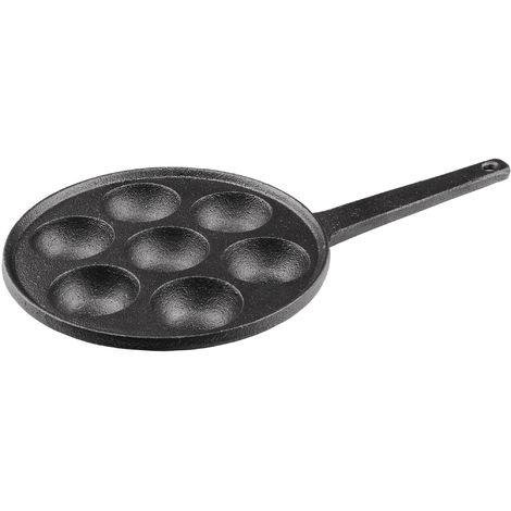 Pförtchenpfanne aus massivem Gusseisen - 7 Augen, pro Auge Ø 5,5 cm - Ideal für Pancakes, Poffertjes, Schnecken, Förtchen, Takoyaki & Aebleskiver - Mit Stielgriff