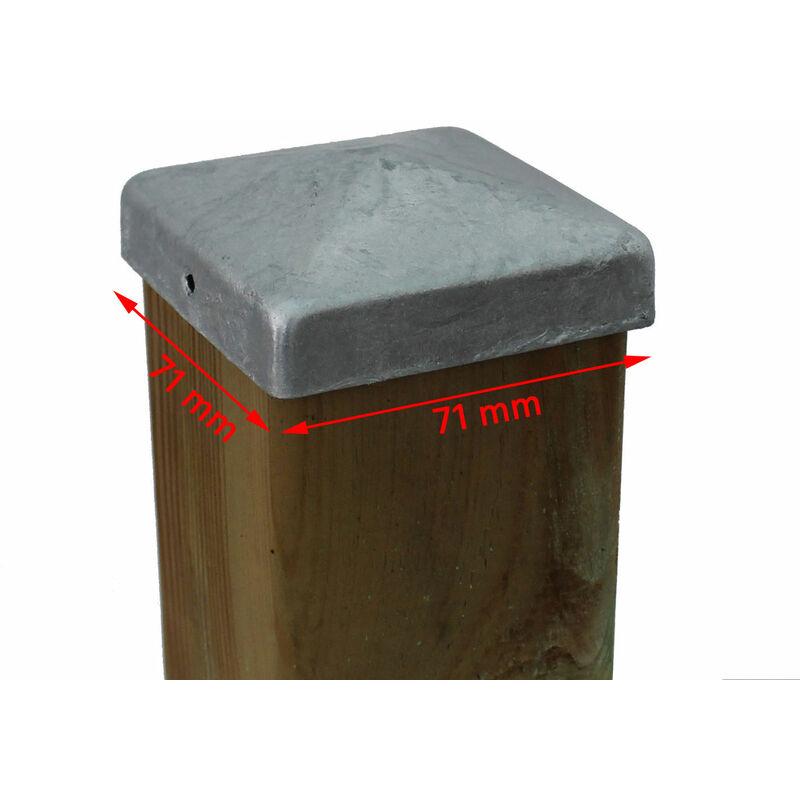 Pfostenkappe 9x9 cm mit Kuh Edelstahl Pyramide Zierkappe