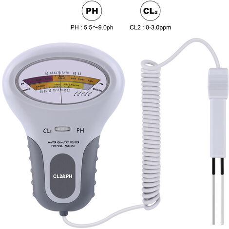 pH Metre Electronique, Kit Analyse Eau Piscine, 2 en 1 PH Testeur de Compteur de Chlore PC-102 PH Testeur Chlore Dispositif de Test de la Qualité de l'eau CL2 Mesure pour Piscine Aquarium