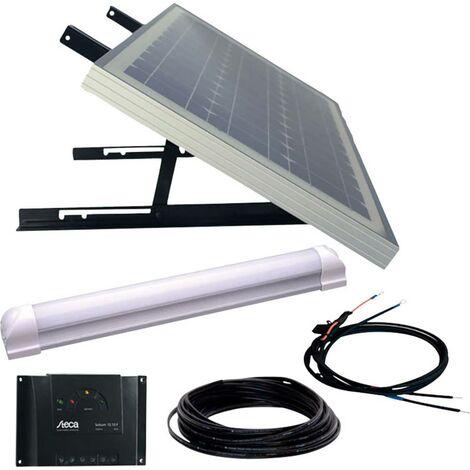 Phaesun SUPER ILLU ONE 600300 Solaranlage 30 Wp inkl. Anschlusskabel, inkl. Laderegler, mit LED Leuc W385021