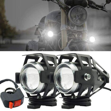 Phare Moto Feux Additionnels,U5 Phares Avant de Moto Anti Brouillard Projecteur Spot LED Moto 125W 3000LM Phares supplémentaires avec interrupteur pour moto Quad Scooter