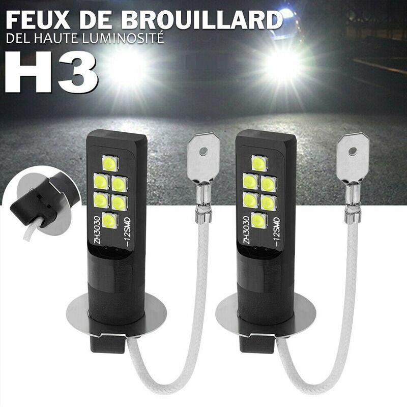 Happyshopping - Phares antibrouillard a LED de voiture 80W Paire d'ampoules de phares Ampoule LED H3 6000-6500K DRL Lampe de conduite, modele: Noir 15
